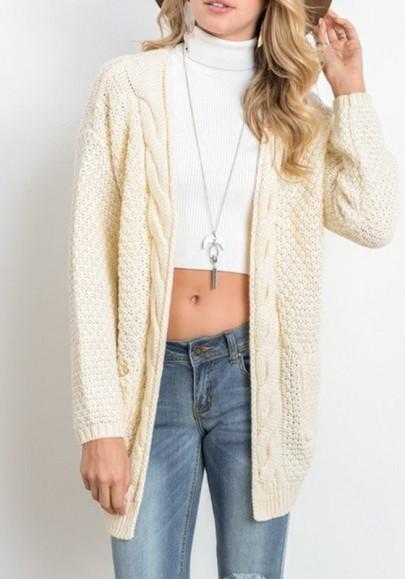 Cardigan tasche oversize maniche lunghe casuale beige