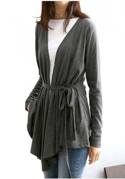 Cardigan écharpes en v-col irrégulier manches longues gris foncé