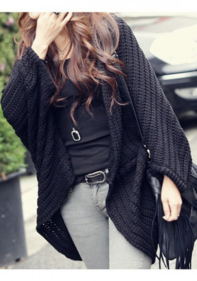 Black Irregular Oversize Dolman Long Sleeve Casual Cardigan Sweater