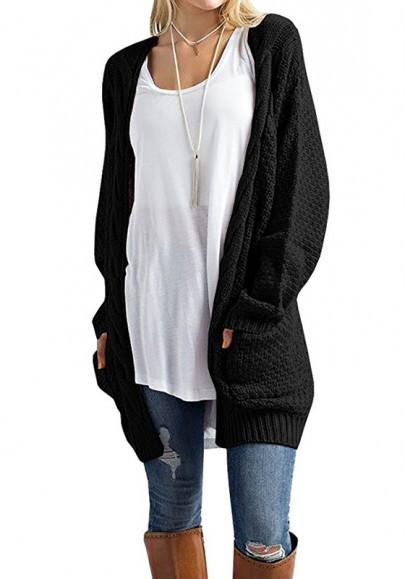 Schwarz Taschen Langarm Cardigan Strickjacke Mode Damen Grobe Lose Oberteile Mantel