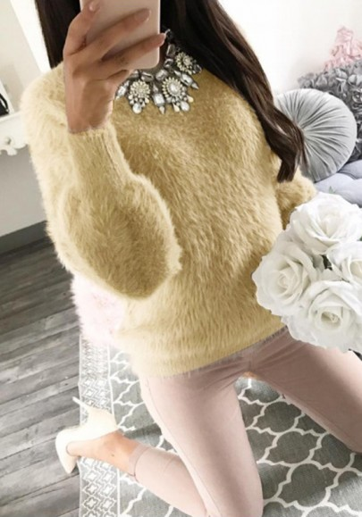 Khaki Round Neck Long Sleeve Casual Pullover Sweater