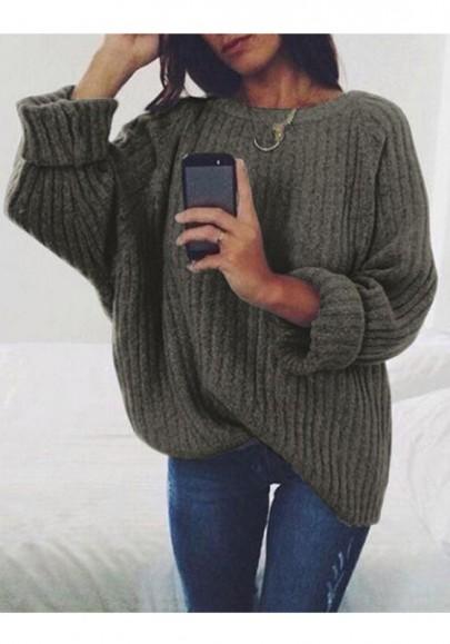 Dark Grey Oversized Long Sleeve Knitwear Pullover Sweater