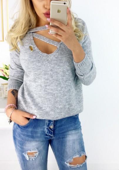 Grau Cut Out V-Ausschnitt Langarm Ausgefallene Strickpullover Sweater Damen Mode