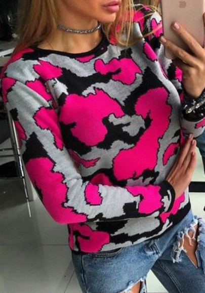 Rose Carmine Camouflage Round Neck Long Sleeve Pullover Sweater