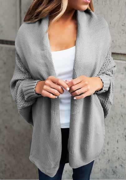 Grey Plain Collarless Casual Wool Cardigan Sweater