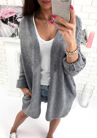 Longue en tricot cardigan avec poches manches longues hiver décontracté lâche femme gris