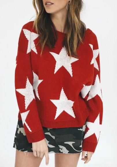 Pulóveres abertura con estampado de estrellas abertura en el bajo Y alto manga larga lindo rojo