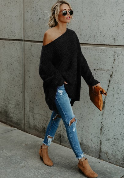 Pulóver liso hombro asimétrico manga larga casuales negro