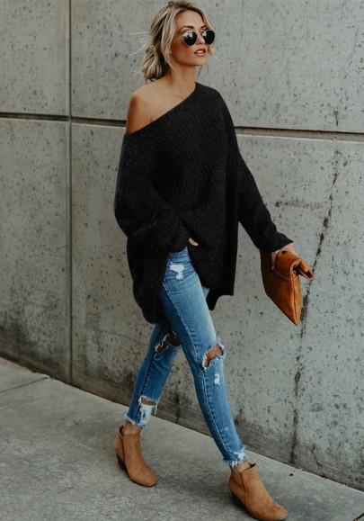 Black Plain Asymmetric Shoulder Long Sleeve Casual Pullover Sweater