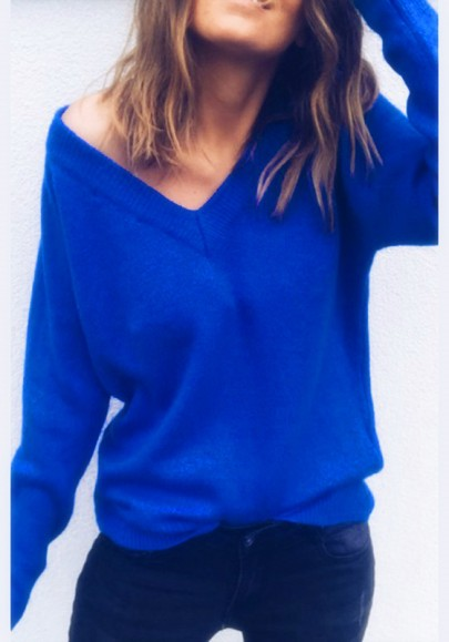 Blue Plain Plunging Neckline Long Sleeve Fashion Pullover Sweater
