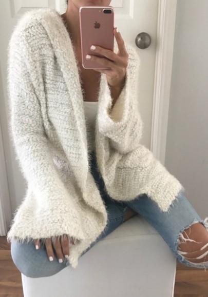 White Pockets Hooded Long Sleeve Fashion Cardigan Sweater