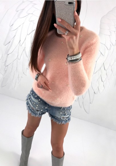 Pull perle col rond sans manches longue mode rose