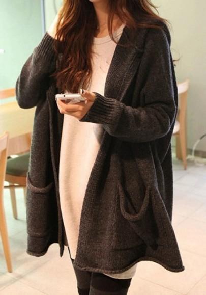 Dunkelgrau Taschen Mit Kapuze Langarm Oversize Cardigans Strickjacke Warme Sweater Damen Mode