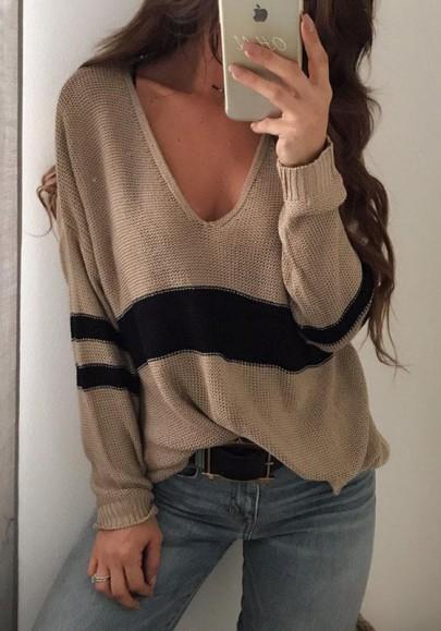 Khaki Striped Print Slit Oversize V-neck Long Sleeve Pullover Sweater