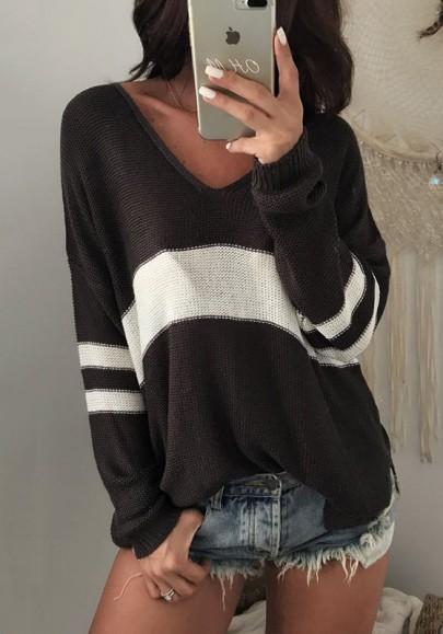 Black Striped Print Slit Oversize V-neck Long Sleeve Pullover Sweater