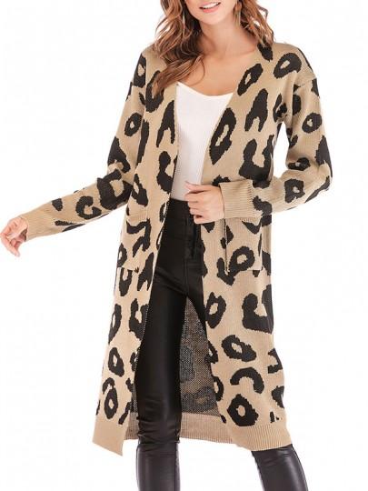 Khaki Leopard Print Taschen Langarm Lässige Cardigans Strickjacke Lange Sweater Damen Mode