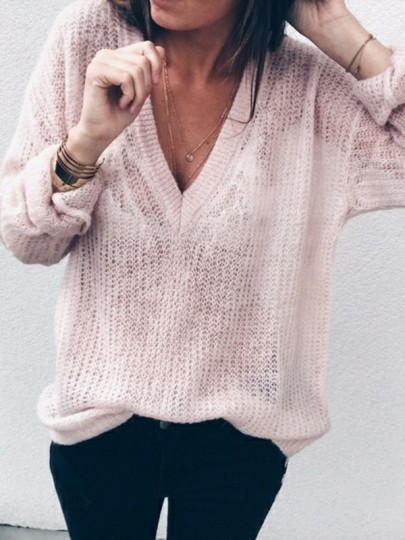 Pink Deep V-neck Slouchy Plus Size Long Sleeve Casual Fashion Sweater Pullover Sweater