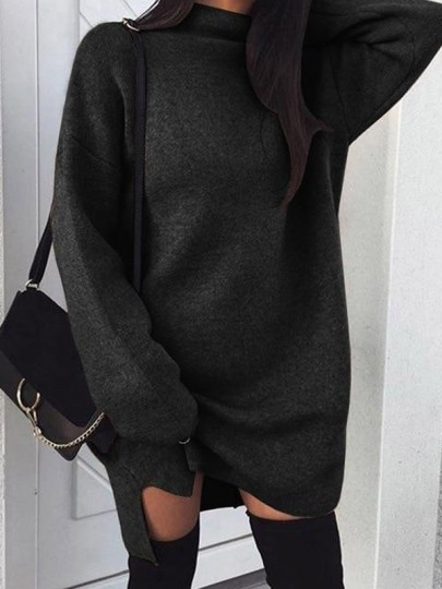 Black Side Slit High Neck Long Sleeve Casual Pullover Sweater