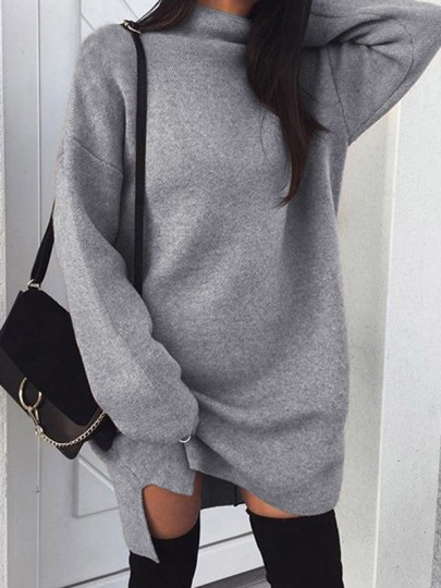 Grey Side Slit High Neck Long Sleeve Casual Pullover Sweater