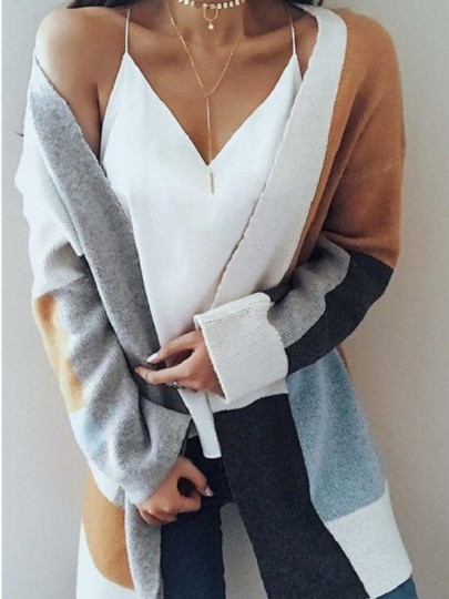 Camel Patchwork Pockets Round Neck Long Sleeve Casual Cardigan Sweater