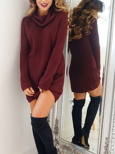 Burgundy Slouchy Plus Size High Neck Long Sleeve Casual Ttrendy Sweater Jumper Dress