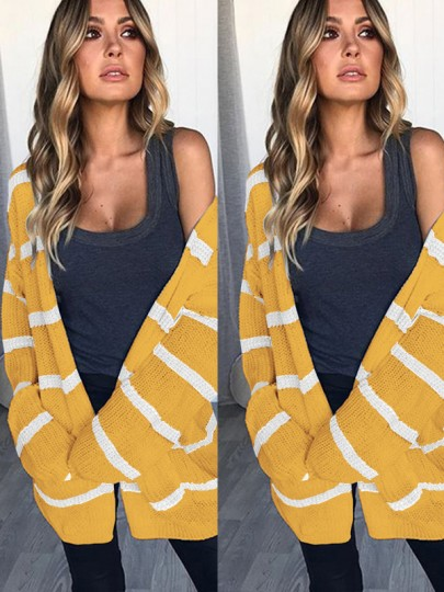 Yellow Striped Print Long Sleeve Casual Cardigan Sweater