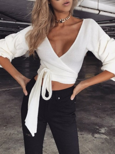 White Sashes Bow Long Sleeve Sweet Going out Pullover