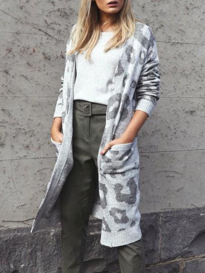 Graue Leopard Print Taschen Langarm Lässige Cardigan Strickjacke Lange Sweater Damen Mode