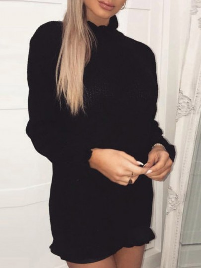 Black Ruffle High Neck Long Sleeve Fashion Sweater