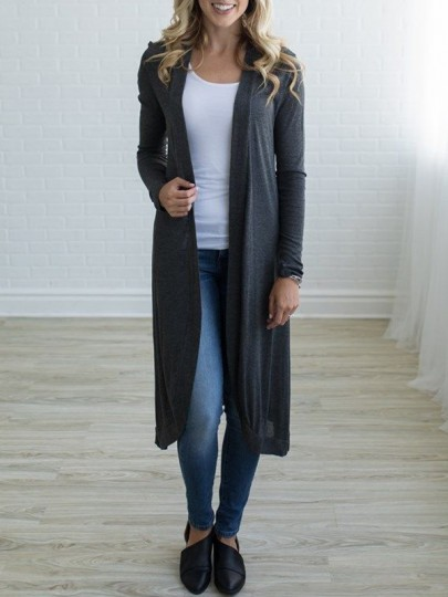 Grey Ruffle Long Sleeve Casual Cardigan Sweater