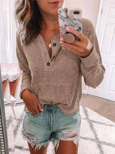 Apricot Buttons Pockets Round Neck Long Sleeve Casual Pullover Sweater