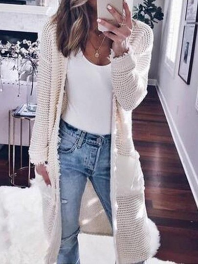 Weiß Taschen Langarm Lässige Cardigan Damen Strickjacke Lang Mantel