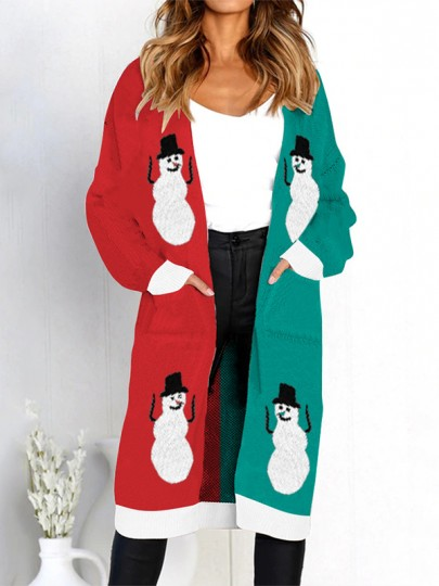 Red Green Floral Pockets V-neck Casual Cardigan Sweater