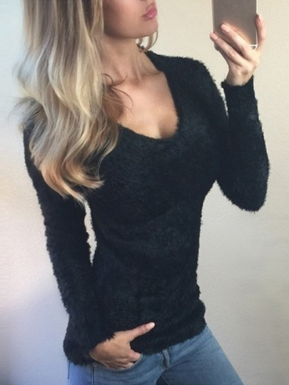 Black Round Neck Long Sleeve Fashion Going out Pullover Sweater
