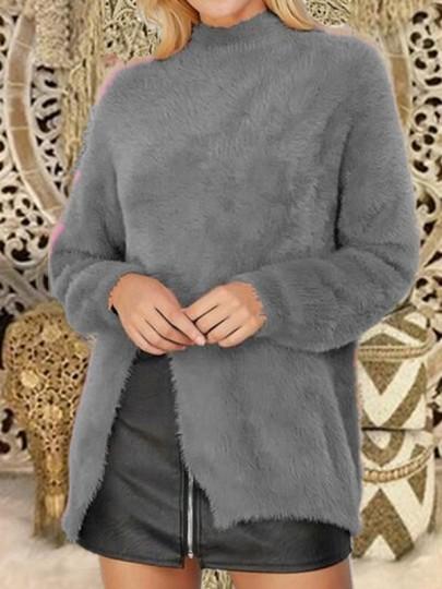 Pull en maille mohair angora fendu le côté manches longues lâche mode femme gris