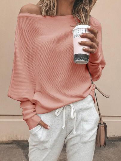 Rosa One Shoulder Fledermausärmel Oversize Lässige Pulli Damen Schulterfreie Strickpullover Mode