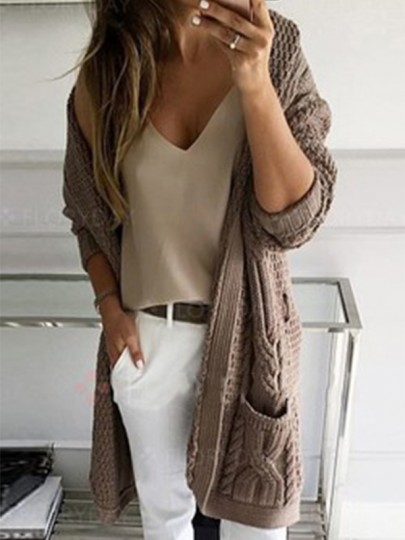 Coffee V-neck Long Sleeve Going out Cardigan Sweater