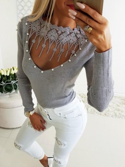 Grau Spitze Perlen Mesh V-Ausschnitt Langarm Pullover Damen Mode Strickpulli