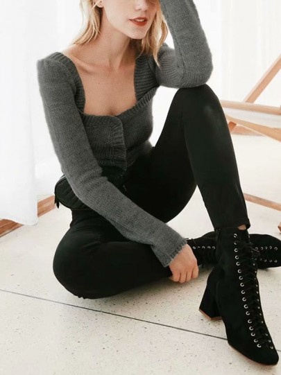 Grey Patchwork Cut Out Bodycon Square Neck Long Sleeve Streetwear Pullover