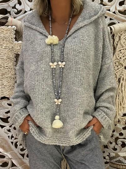 Graue Fledermausärmel Mit Kapuzen Lässige Oversize Strickpullover Sweater Damen Mode