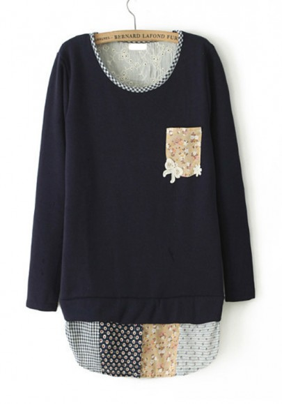 Navy Blue Patchwork Long Sleeve Cotton Blend Sweatshirt