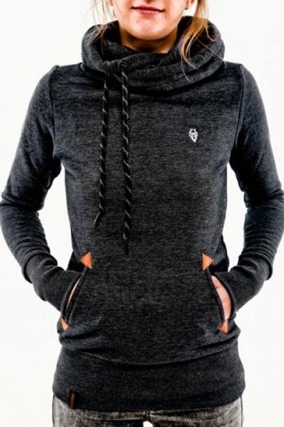 Sweatshirt naketano à capuche avec poches manches longues décontracté femme pull noir