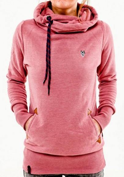 Sweatshirt à capuche manches longues décontracté femme naketano pull rose