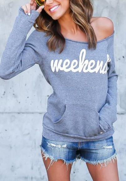 Grey Monogram Weekend Print Pockets Off Shoulder Oversized Casual Pullover Sweatshirt