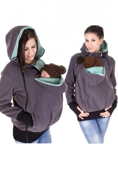Light Purple Multi-functional Zipper Kangaroo Baby Bags Maternity Hooded Cardigan Sweatshirt