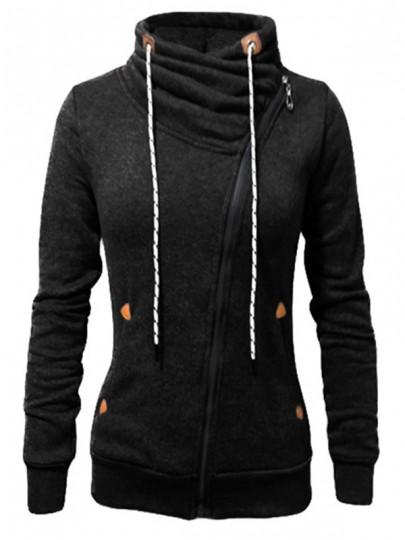 Schwarz Seitliche Reißverschluss Taschen Kordelzug Stehkragen Langarm Sweatjacke Damen Naketano Sale