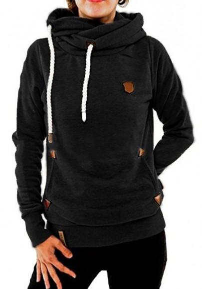 Black Plain Badge Drawstring Cowl Neck Vogue Hooded Casual Pullover Sweatshirt