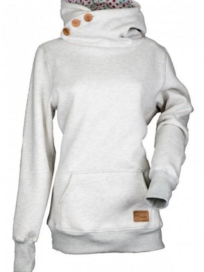 Hellgrau Taschen Knöpfe Mit Kapuze Dicke Cowl Neck Langarm Beiläufige Damen Hoodie Pullover Sweatshirt Sale