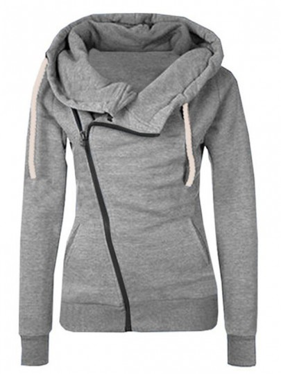 Grey Plain Side Zipper Pockets Cowl Neck Casual Hooded Naketano Cardigan Sweatshirt