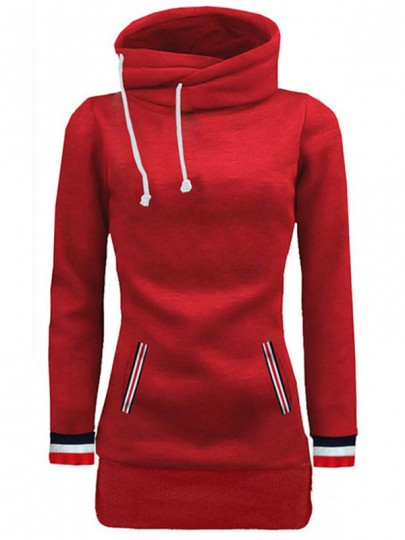 Red Patchwork Pockets Drawstring Casual Sweatshirt